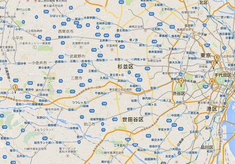 東京五社の位置関係 - 明治神宮(1)、靖国神社(2)、大國魂神社(3)、日枝神社(4)、東京大神宮(5)