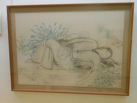 居醒泉(下絵) - 伊吹山で瀕死の重傷を負ったヤマトタケルが意識を取り戻す場所【大古事記展】