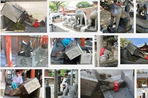15年4月に破壊された警固神社のキツネ像4体が復元、思いを書き込める絵馬設置 - 福岡市のキャプチャー