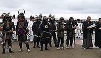 小茂田浜神社 - 文永の役で元・高麗軍の上陸地に戦死した宗助国を奉斎、11月に武者行列