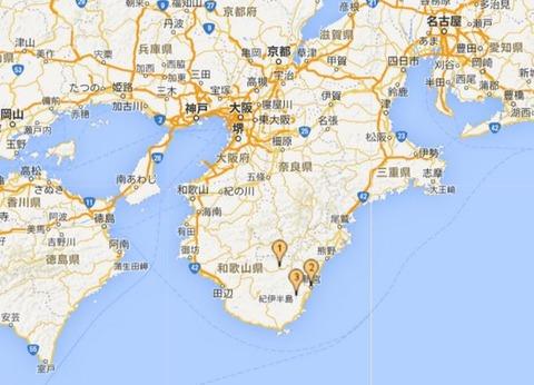 熊野三山(熊野本宮大社(1)、熊野速玉大社(2)、熊野那智大社(3))の位置関係