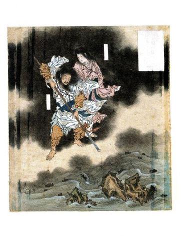 『日本神話シリーズ』島々の誕生 - ちょうど天沼矛で海を掻きまわすイザナギとイザナミ【大古事記展】のキャプチャー