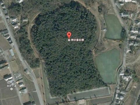 五社神古墳(奈良県・奈良市) by Googleアース - ぶっちゃけ古事記
