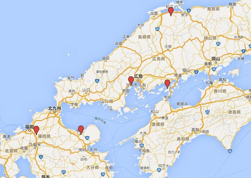 四社詣と五社詣 - 西日本、中国・四国・九州地方の主要な一宮の四社と太宰府天満宮