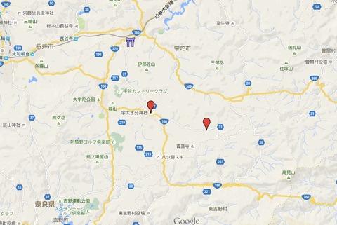 宇太水分神社(下社)の位置