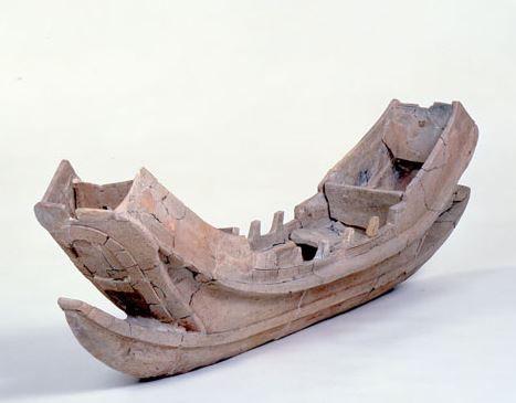 2-3世紀弥生時代の土器片に屋根のある船室(キャビン)を備えた船が線刻 - 広島・福山の御領遺跡のキャプチャー