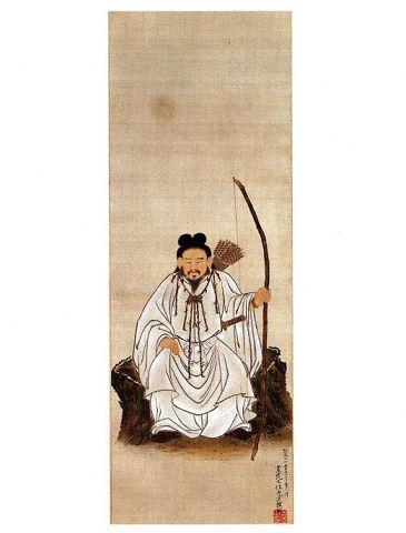 神武天皇像 - 弓矢を持つも軽装、顔も穏やかで豪華な首飾りが映える【大古事記展】のキャプチャー