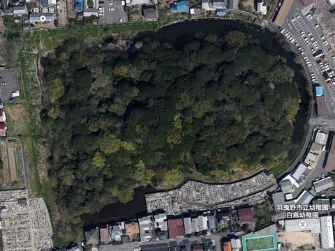 墓山古墳(大阪府・羽曳野市) - 応神天皇陵の陪塚の一つ、それでも全国22位の前方後円墳のキャプチャー