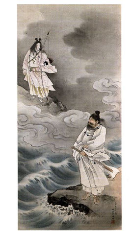 天照大神と須佐之男命 - スサノヲの訪問に武装するアマテラス、二人の間に漂う険悪な雰囲気【大古事記展】のキャプチャー