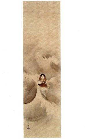 少彦名神図 - 小さなスクナビコナがより体を縮めてガガイモの船に乗る【大古事記展】のキャプチャー