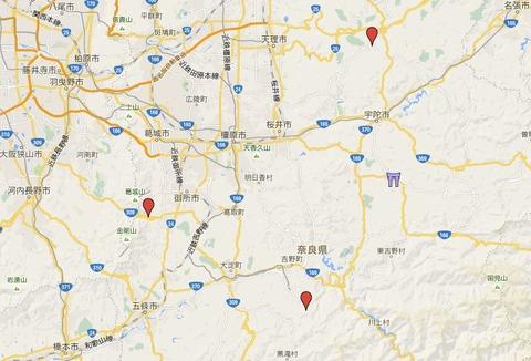 大和国四所水分社における宇太水分神社の位置