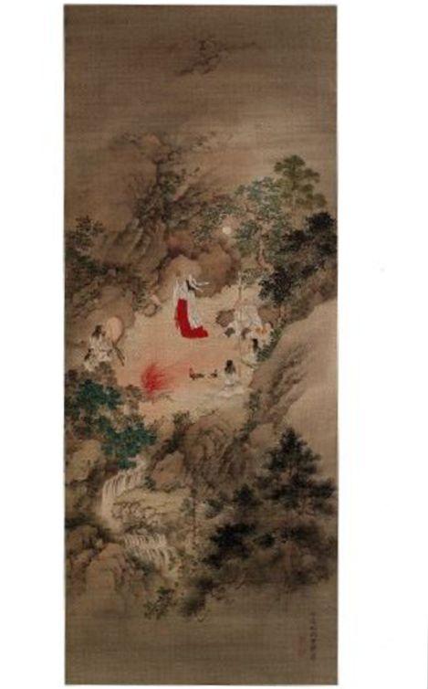 岩戸神楽図 - 古事記の記述に忠実に、山水画タッチで天岩戸隠れを描く【大古事記展】のキャプチャー