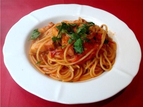 尾瀬トマトとベーコンのペペロンチーノ