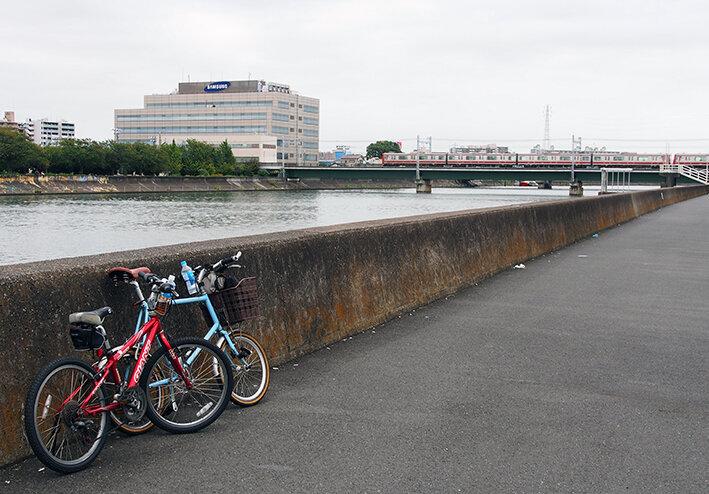 今度は親子で鶴見川河口サイクリング