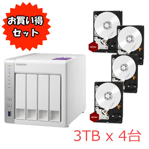QNAP TurboNAS TS-431P WD Red 3TB HDD4台セット
