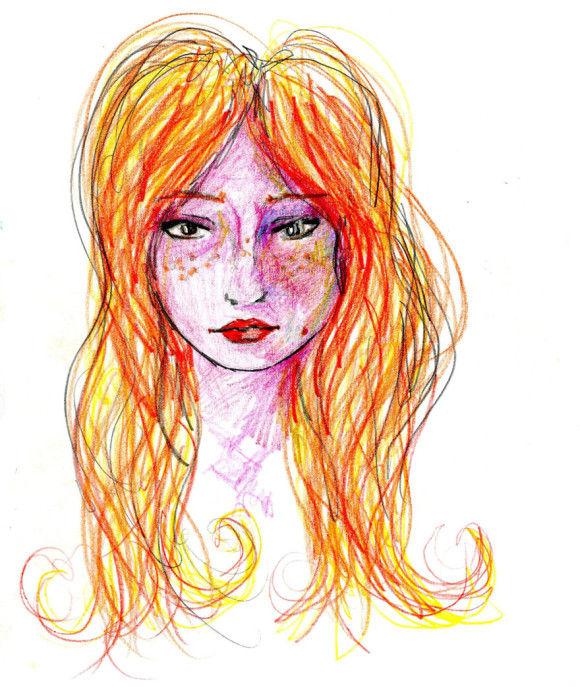 LSDを使用した後に描いた自画像3