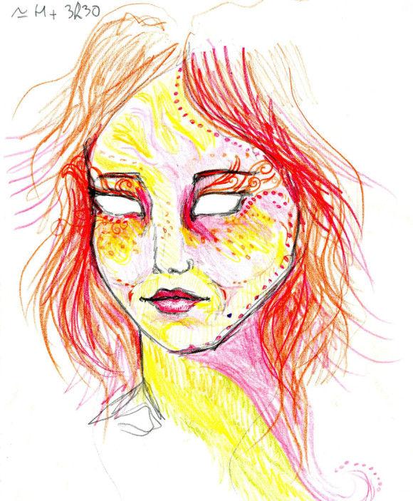LSDを使用した後に描いた自画像5