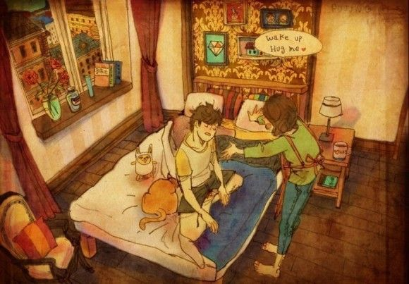 【画像】恋人同士のほっこりするイラストが素敵!
