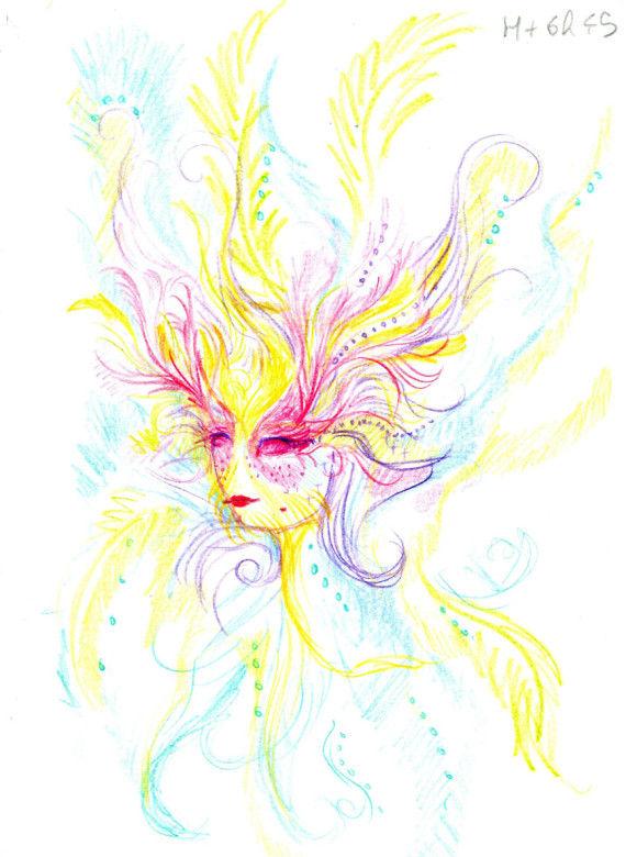 LSDを使用した後に描いた自画像8