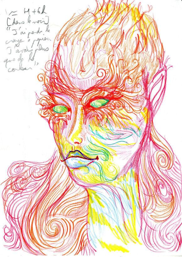 LSDを使用した後に描いた自画像7