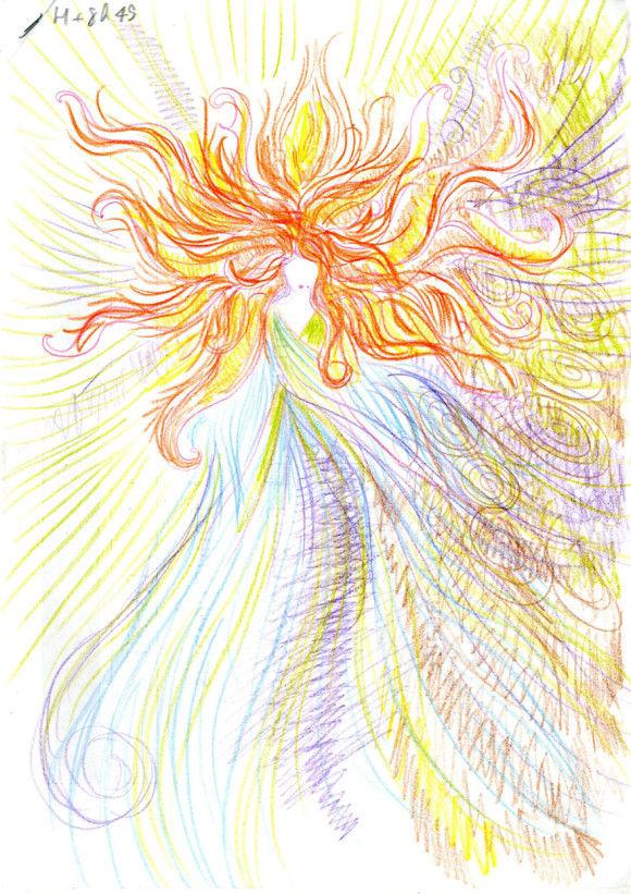 LSDを使用した後に描いた自画像10