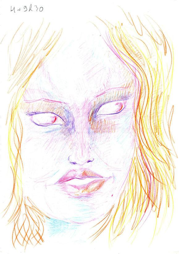 LSDを使用した後に描いた自画像11