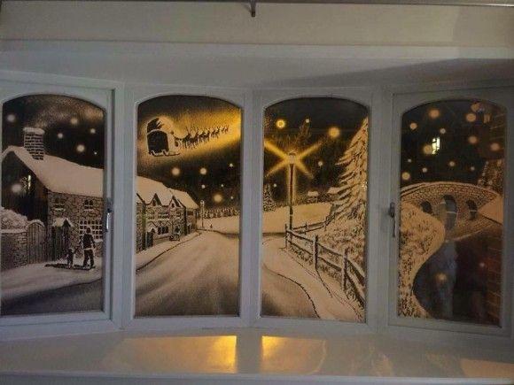 スプレーで描かれた窓アート11