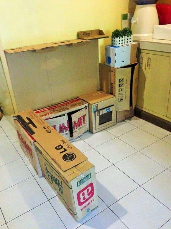 子供の為に作った段ボールキッチン2