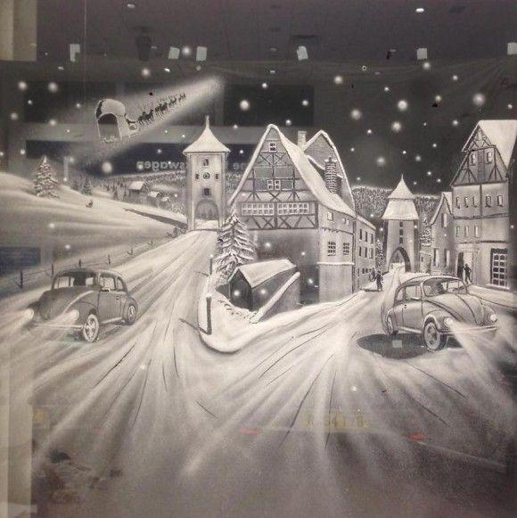 スプレーで描かれた窓アート1