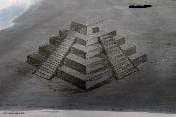 砂浜に書いたトリックアートが凄い5