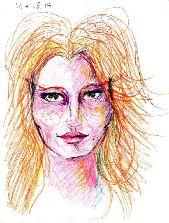 LSDを使用した後に描いた自画像4
