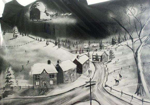 スプレーで描かれた窓アート6