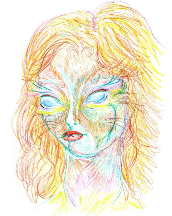 LSDを使用した後に描いた自画像9