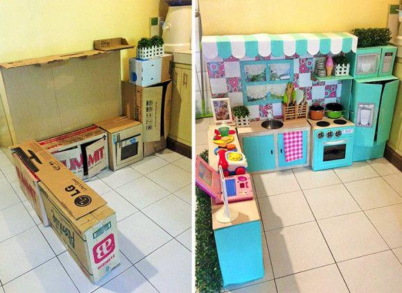 子供の為に作った段ボールキッチン1