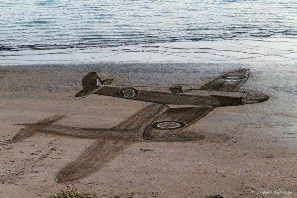 砂浜に書いたトリックアートが凄い3