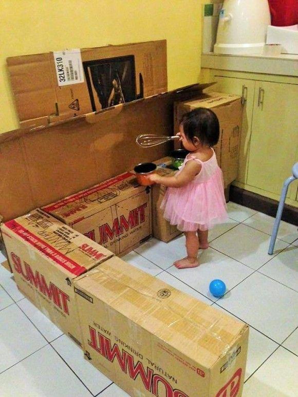 子供の為に作った段ボールキッチン3