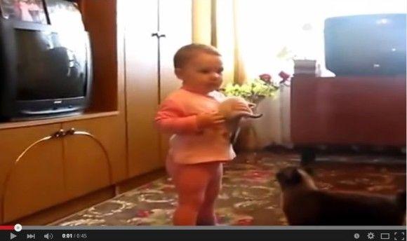 赤ちゃんから子猫を取り返そうとする親猫1