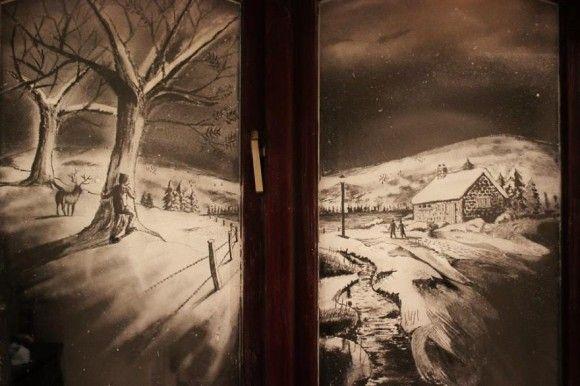 スプレーで描かれた窓アート5