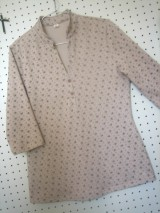 ダンボール小花オープンカラーニットシャツ