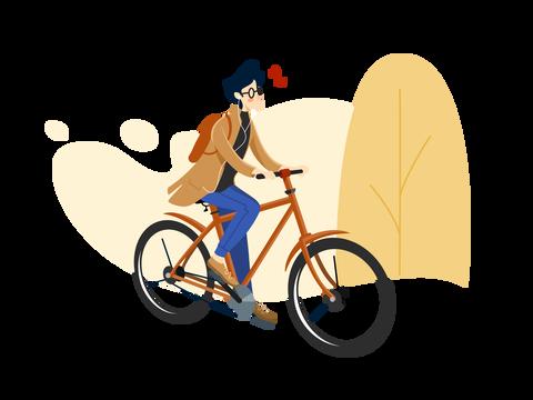 Man Bike Commute In The Morning