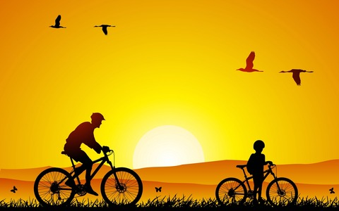 Bicycle-Father-With-Son-Wallpaper