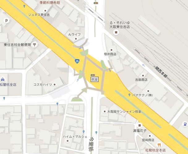 杭全交差点(google mapより)
