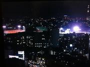 20130914神宮球場と国立競技場(NHKカメラより)