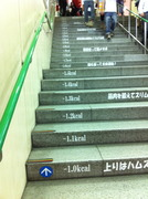 カロリー消費表示の地下鉄四条駅階段