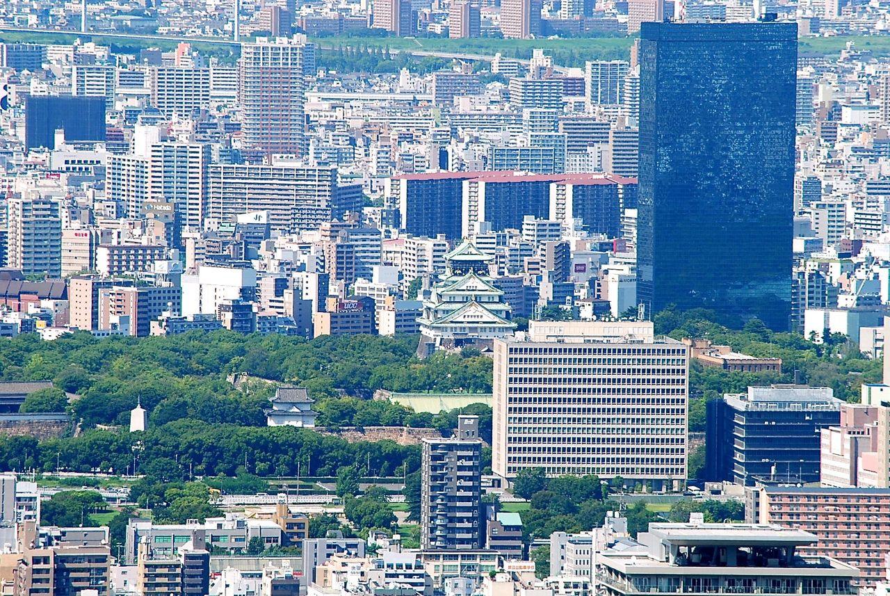 ハルカス展望台から大阪城天守閣