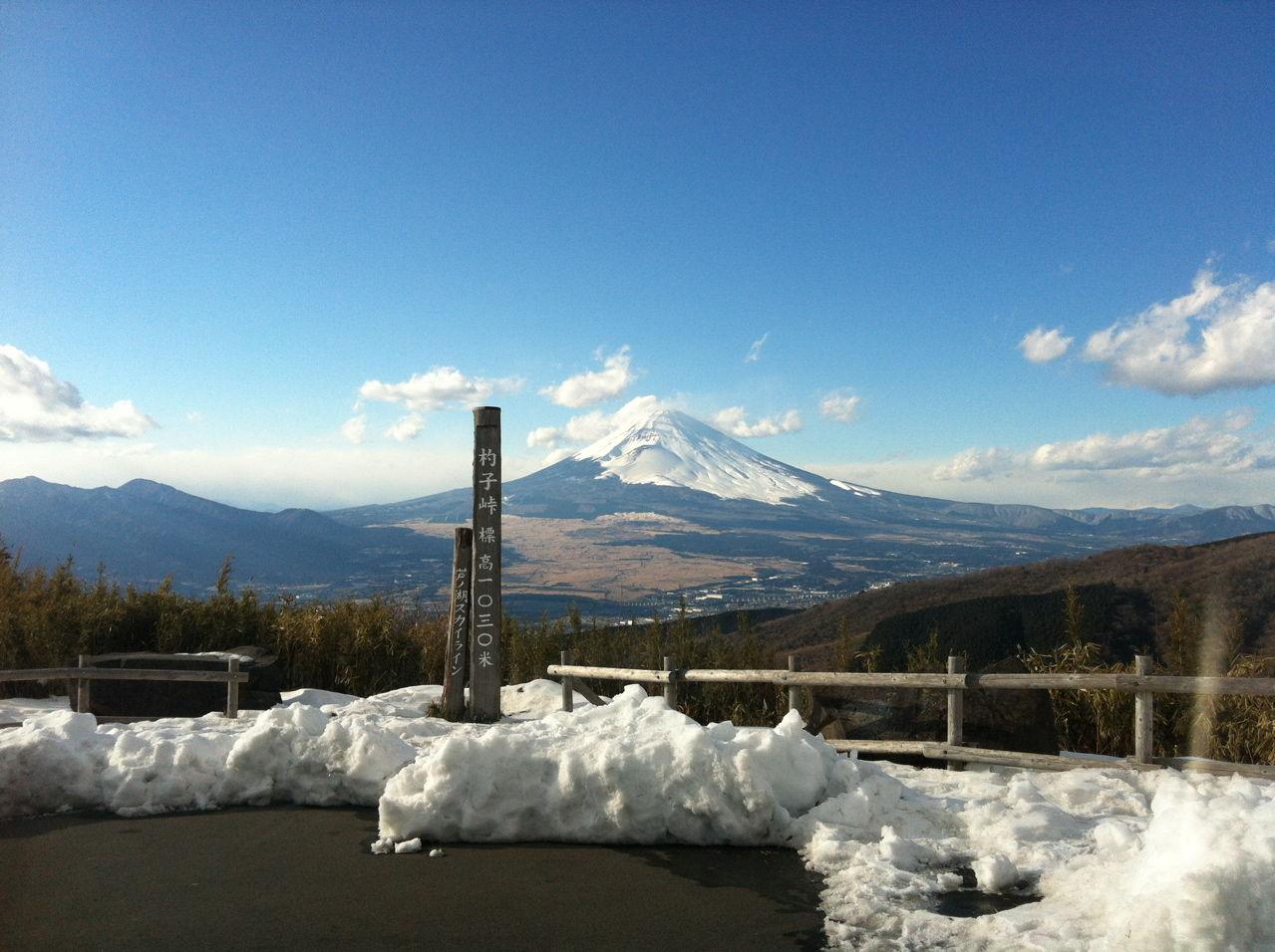 杓子峠から富士山を望む