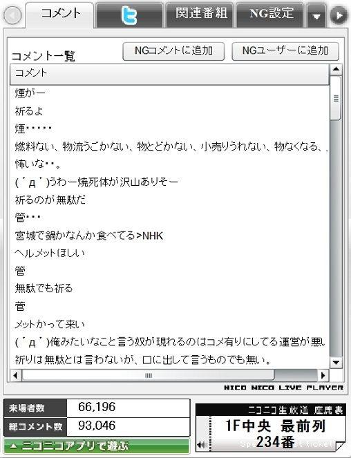 東日本大震災時のニコ生ニュース中継