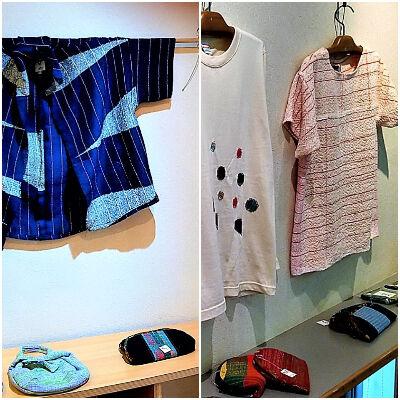 手織り製品を展示
