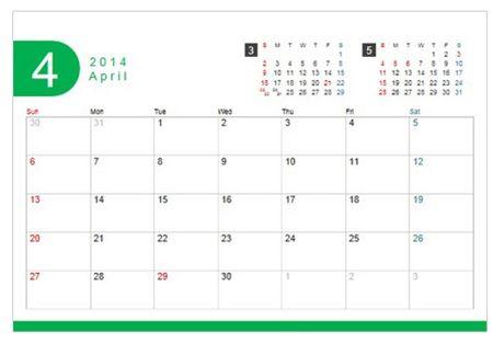 カレンダー 3か月カレンダー : ... 用卓上カレンダー4月始まり