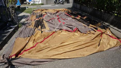 濡れたテントの乾燥2